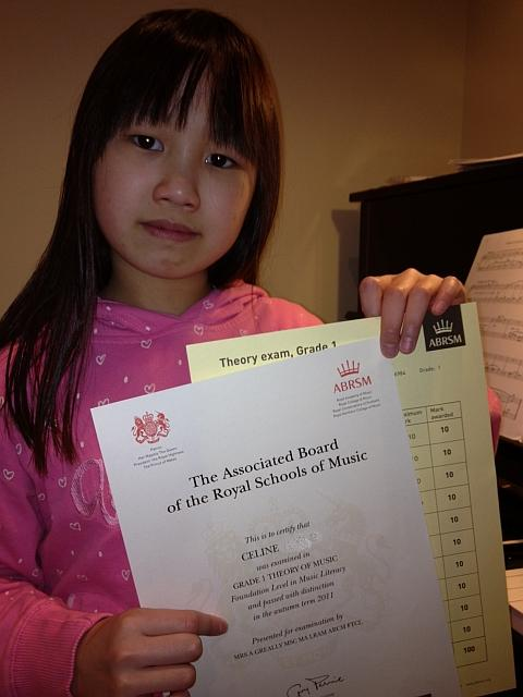Image of piano student from Oxhey with piano certificate