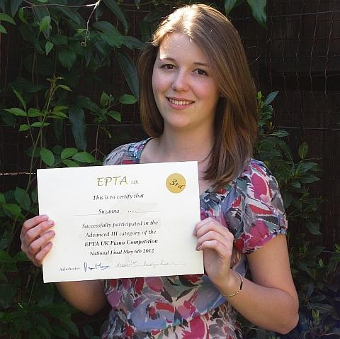 Image of Pinner girl with her piano certificate