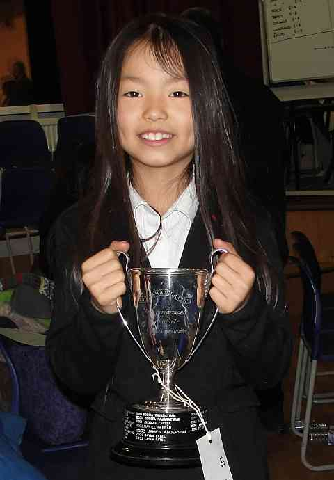 Image of Grace with her Ruislip-Northwood piano trophy.